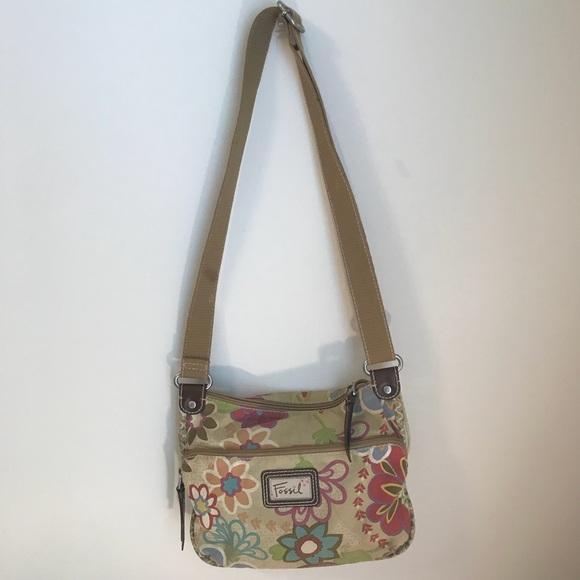 63ba4223a Fossil Handbags - Fossil Canvas Floral cross body purse